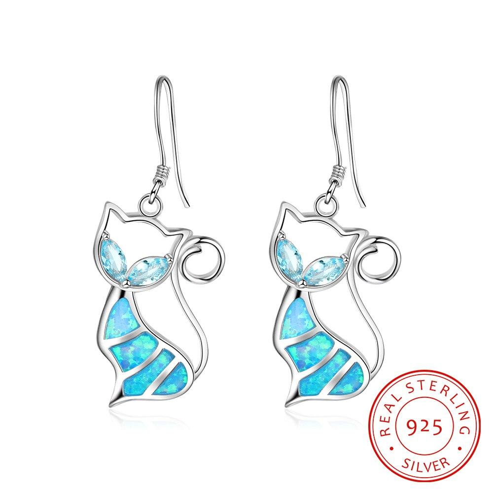 Lovely Blue Cat Fire Opal Women Fashion 925 Sterling Silver Opal Earrings fire granny 2018 11 20t20 00
