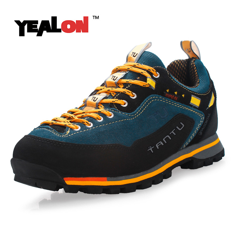 ФОТО YEALON Hiking Shoes Waterproof Sneakers Men Shoes Outdoor Men Sports Waterproof Trekking Shoes Suede Mountain Shoes Men