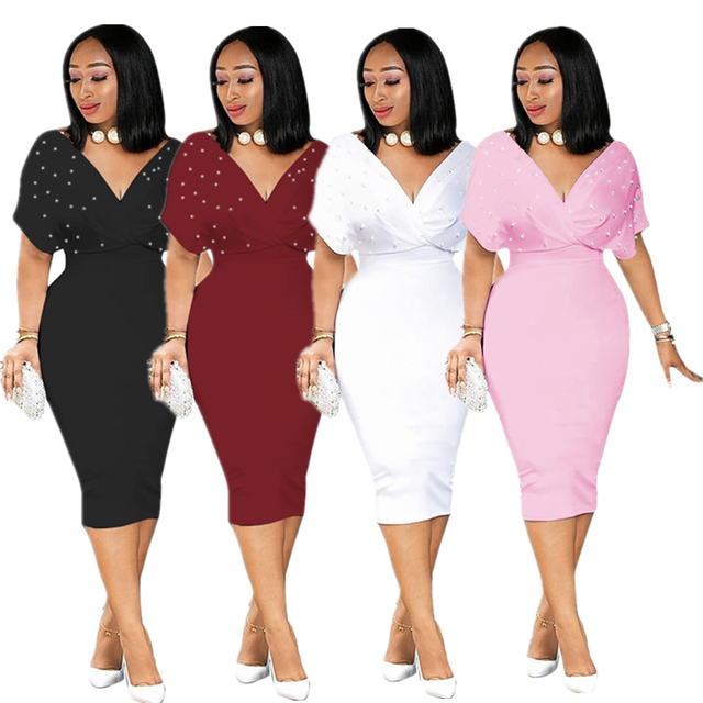 summer women's plus size dresses loose bat short sleeve pearl dress sexy deep v neck elegant dress party . 1