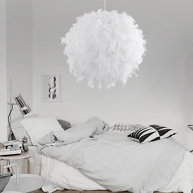 Pendant Light with Feather Lampshade