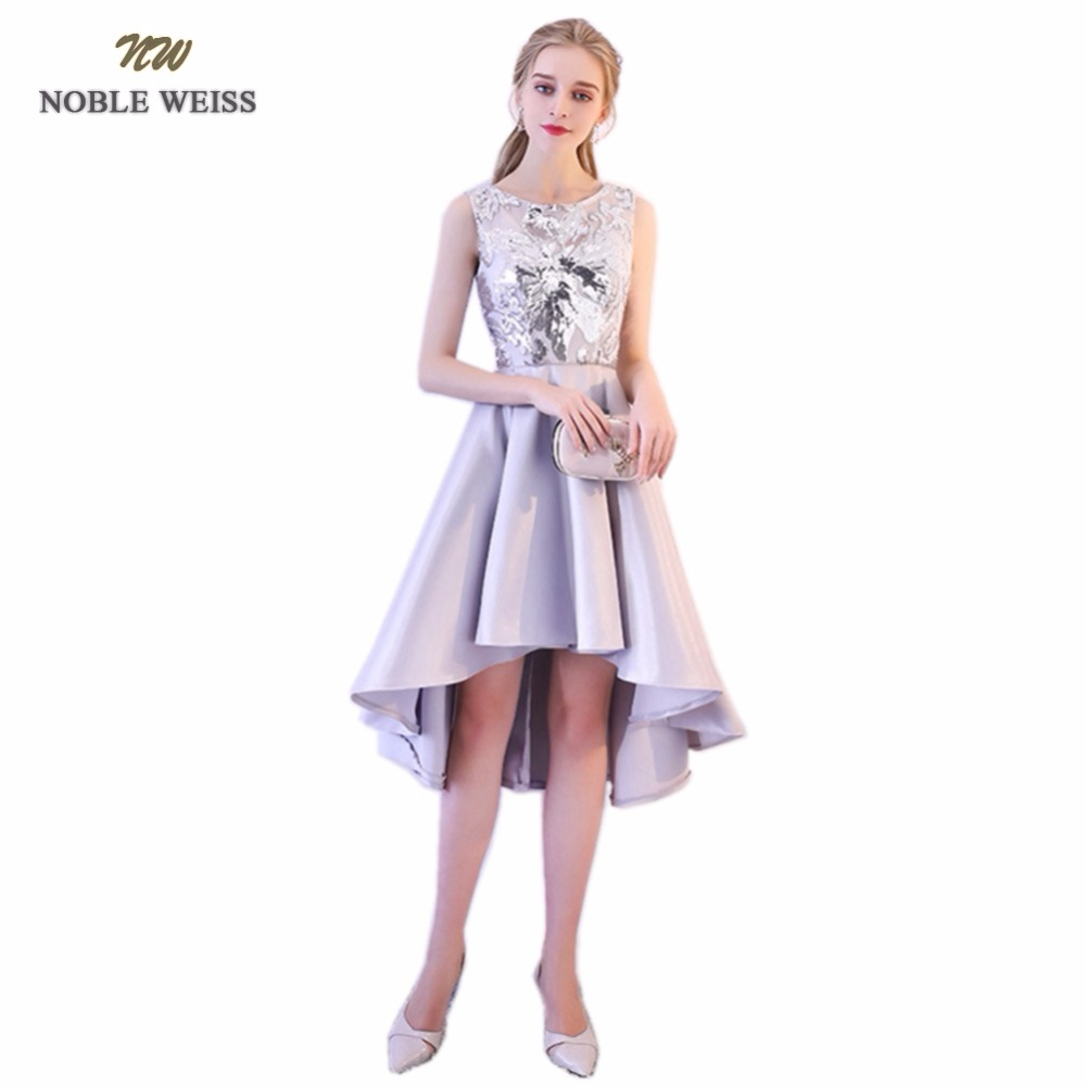 NOBLE WEISS Hot Sale Champagne Satin Prom Dresses Asymmetrical Sequined Robe De Soiree A-Line In Stock Prom Dress