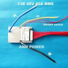 3.7V hücre 13S 48V 40A lityum pil BMS ile ON/OFF anahtarı ve denge fonksiyonu sürekli akım 40A maksimum akım 120A