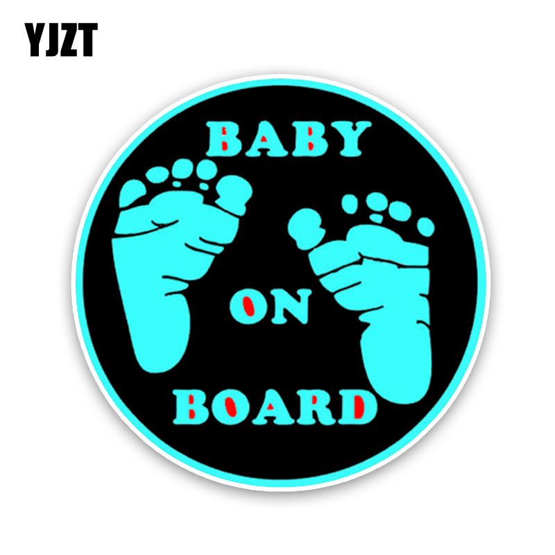 YJZT 12.9*12.9CM Warning Car Sticker Foot Baby On Board Cartoon Graphic Colored Decoration C1-5512