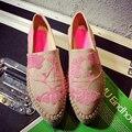 Nueva Primavera Verano 2017 Mujeres Alpargatas, Cuerda Gruesa Suela Bordadas Plataforma Creepers Casual Zapatos Mujer Pisos Bajos Zapatos Del Holgazán