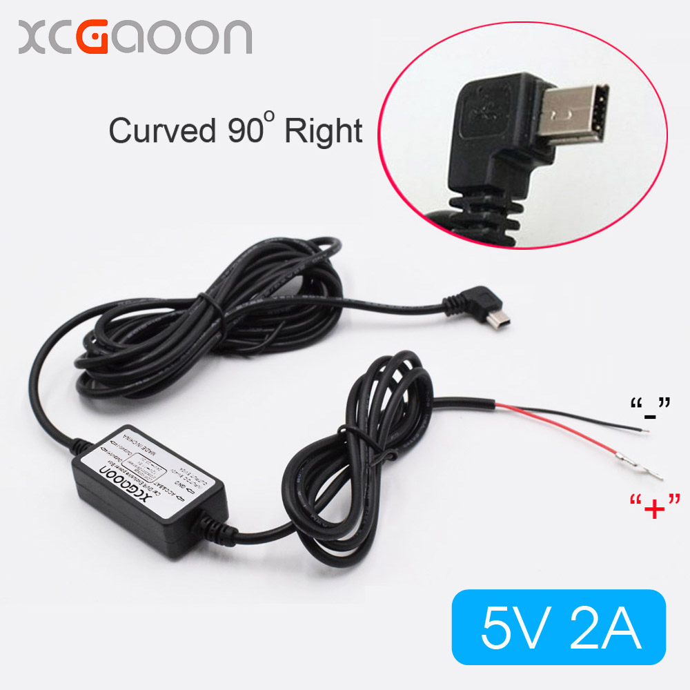 XCGaoon Car Charger DC Converter Module 12V 24V To 5V 2A with mini USB Cable (Curved Right) Low Voltage Protection Length 3.5m