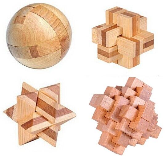 4 шт. за комплект 3D деревянный бамбука блокировки головоломки IQ тест логические головоломки игры игрушки для взрослых и детей