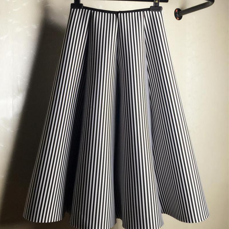 2019 midi saia preto e branco listra vertical saia tutu um algodão feminino saias outono e inverno frete grátis
