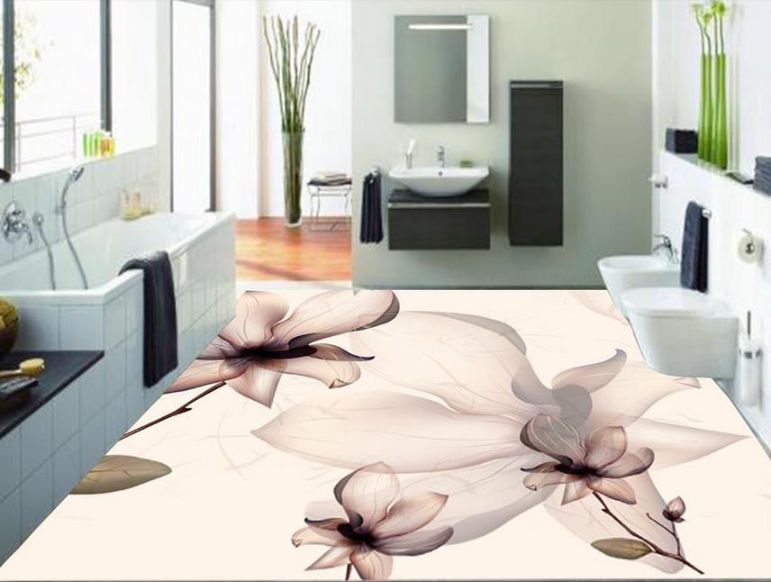 ФОТО custom 3d flooring painting wallpaper Abstract flowers self adhesive wallpaper 3d flooring wallpaper bathroom Waterproof murals