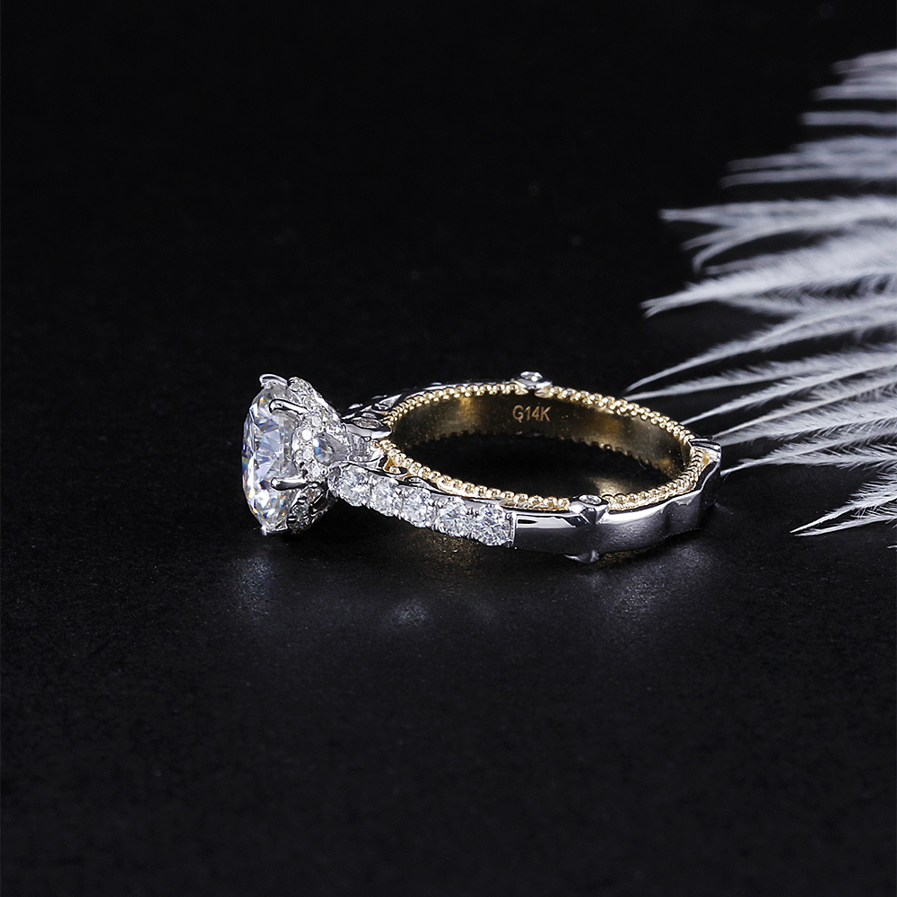 Doveggs 럭셔리 빈티지 14 k 585 화이트와 옐로우 골드 센터 2ct 8mm H I 컬러 moissanite 약혼 반지 여성용 결혼식-에서반지부터 쥬얼리 및 액세서리 의  그룹 2