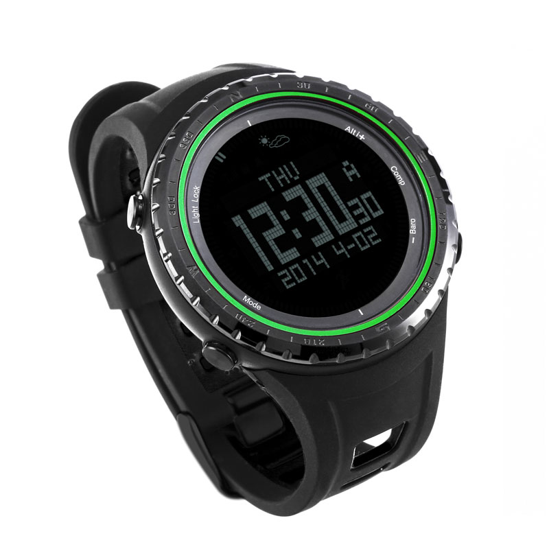 SUNROAD FR801B2 Waterproof Watch Men -Digital Watch  Barometer Altimeter Compass Pedometer  Green Men Clock  sunroad fr800nb sports watch men waterproof digital altimeter barometer compass watches pedometer men watch style clock green