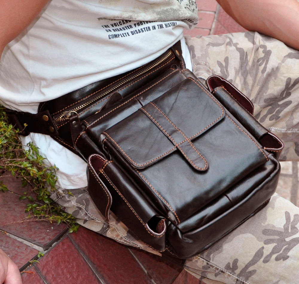 Real Leather Mænd Design Casual Messenger Crossbody Sling Bag - Bæltetasker - Foto 4