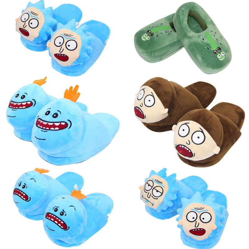 28cm 7 estilo creativo Mr. Meeseeks Morty Smith Sanchez zapatillas de felpa zapatos de invierno de interior suave Peluche de juguete