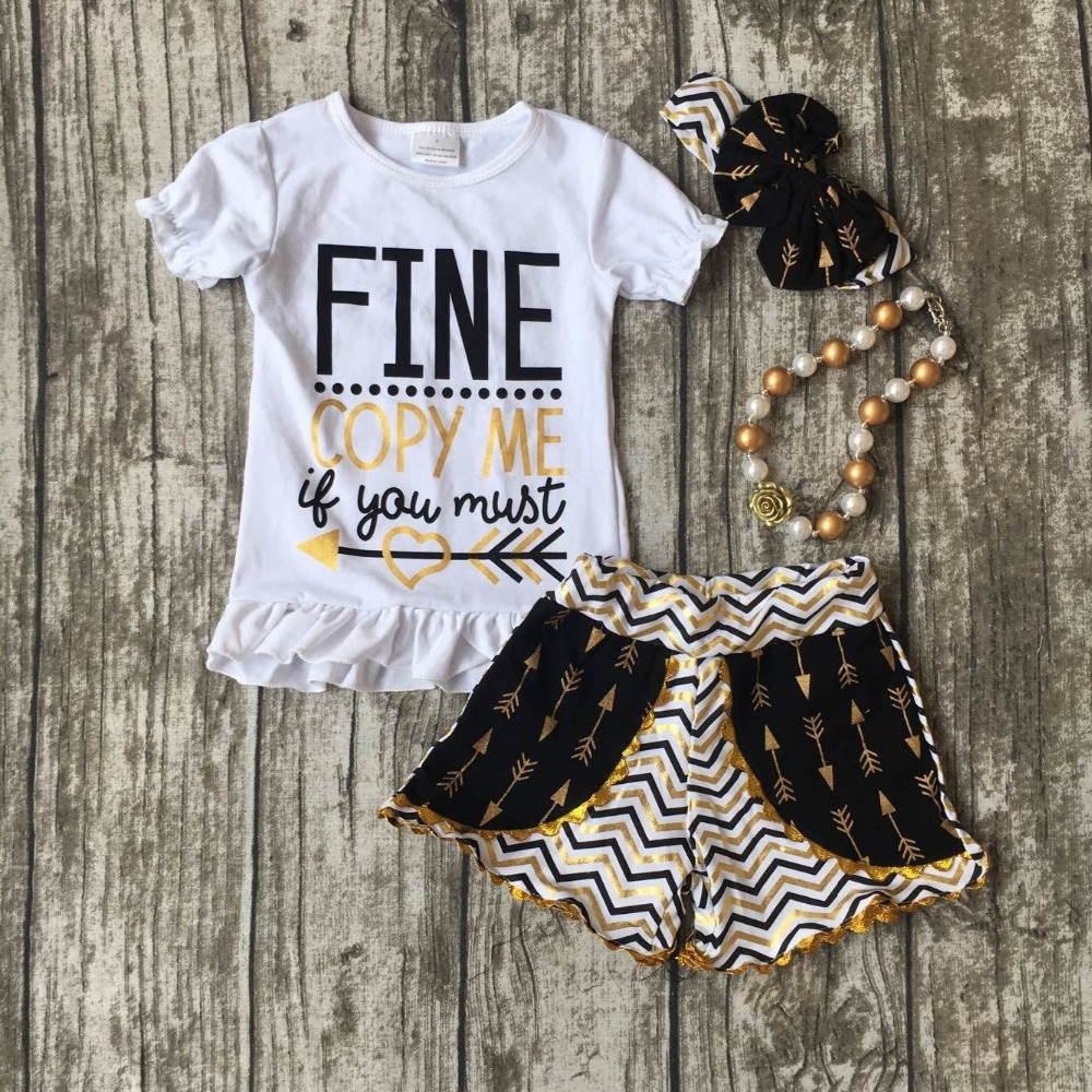 summer spring clothing baby girls Fine copy me clothing children boutique summer ooutfits with accessories