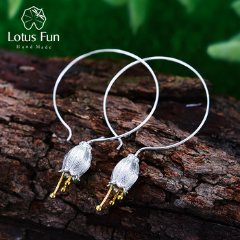 Lotus Fun Real 925 Sterling Silver Earrings Natural Creative Fine Jewelry Fresh Bell Flower Dangle Earrings for Women Brincos lotus fun 925 sterling silver brooches for women lotus flower lapel pins men suit scarf collar brooch fine jewelry