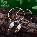 Lotus Spaß Echt 925 Sterling Silber Ohrringe Natürliche Kreative Feine Schmuck Frische Glocke Blume Baumeln Ohrringe für Frauen Brincos
