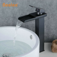 Beelee BL0510BH Deck Mounted Waterfall Brass Oil Rubbed Bronze Black Bathroom Vessel Sink Mixer Faucet Black Mixer Tap