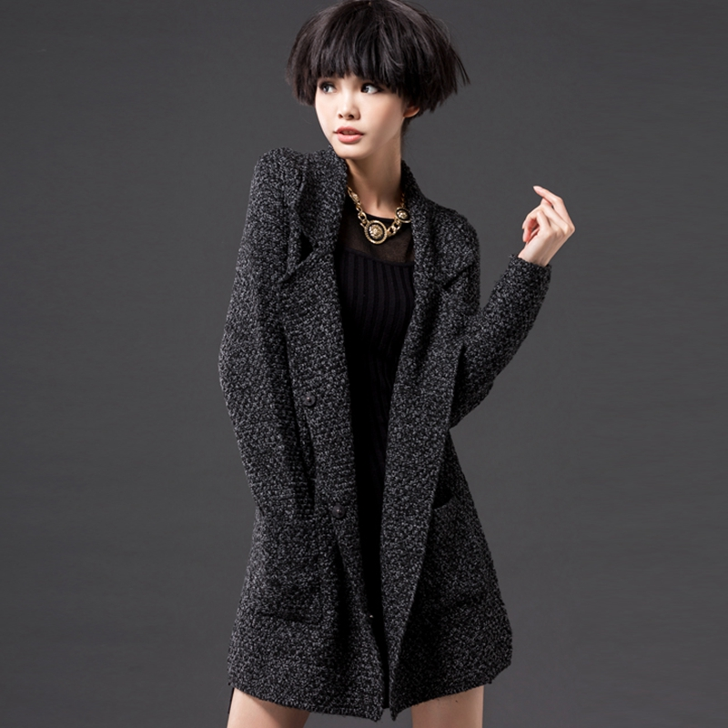 Mujer Cardigan Largo Suéter Las Primavera otoño Gran Black Abrigo Tamaño Solo La Nuevo De Punto Gray Breasted Mujeres 2019 X834 00vqxwzP