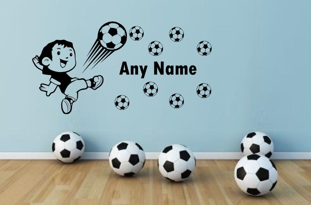 Buy soccer football any name vinyl wall for Stickers pared bebe