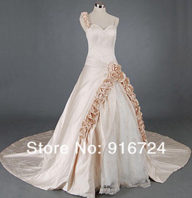 Роскошное асимметричное бальное платье из тафты шампанского с вышивкой на одно плечо, свадебное платье ручной работы с розами и бисером, на