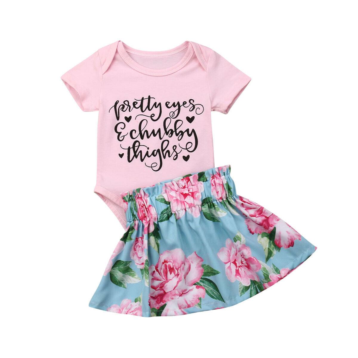 0-24 M Nette Neugeborene Baby Mädchen Kurzarm Brief Drucken Baumwolle Body Tops Floral Rock 2 Pcs Outfits Prinzessin Mädchen Kleidung SchöN In Farbe