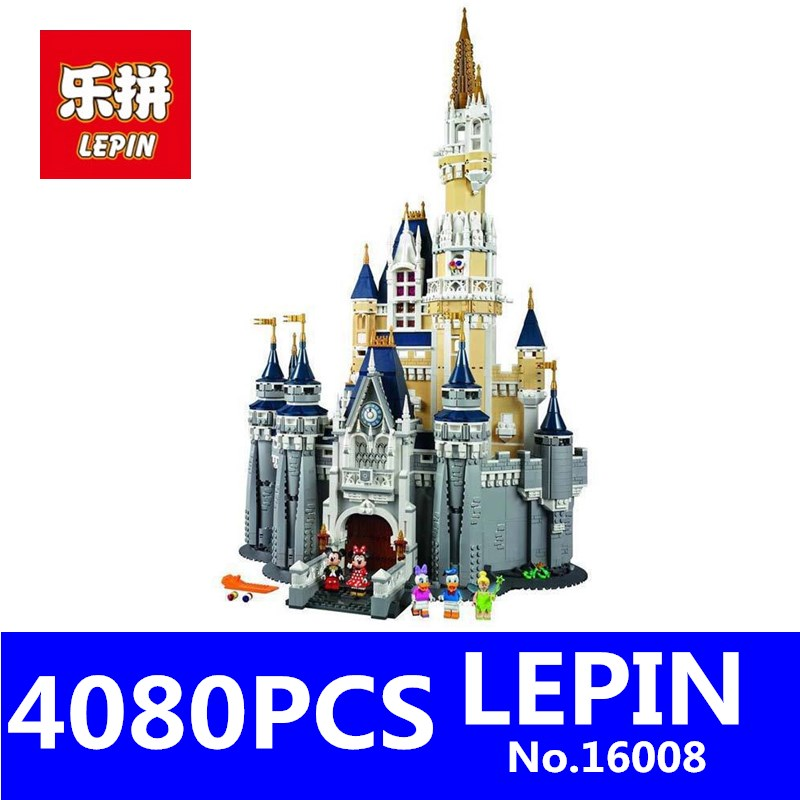 LEPIN 16008 4080Pcs Movie Series Creator Cinderella Princess City Building Blocks Bricks Kits Toys for Children Compatible 71040 hc9009 1650pcs pikachu cartoon movie series without original box building blocks diamond bricks toys compatible with loz