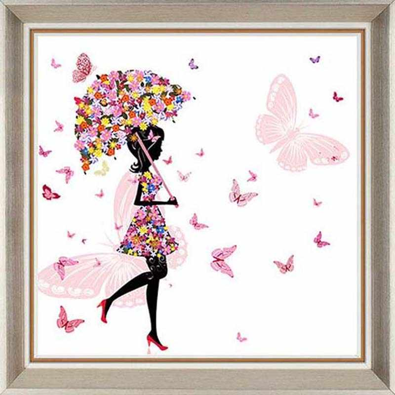 5d Diy Simple Butterfly Girl Diamond Painting Round Diamond Mosaic Full Rhinestone Cross Stitch Embroidery Wall Decor Needlework
