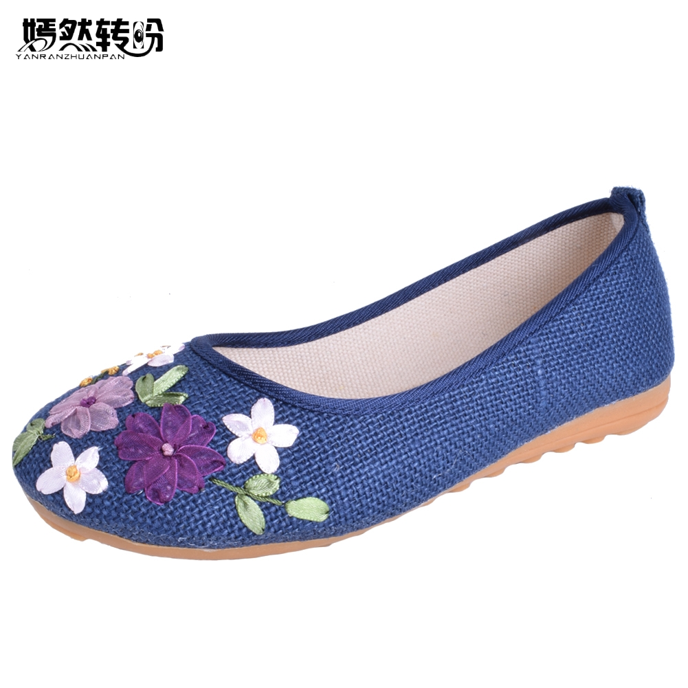 Plus size 42 Vintage Embroidered Women Shoes Flats Old Peking Flower Embroidered Canvas Linen Shoes Sapato Feminino Ballet Shoes vintage embroidery women flats chinese floral canvas embroidered shoes national old beijing cloth single dance soft flats