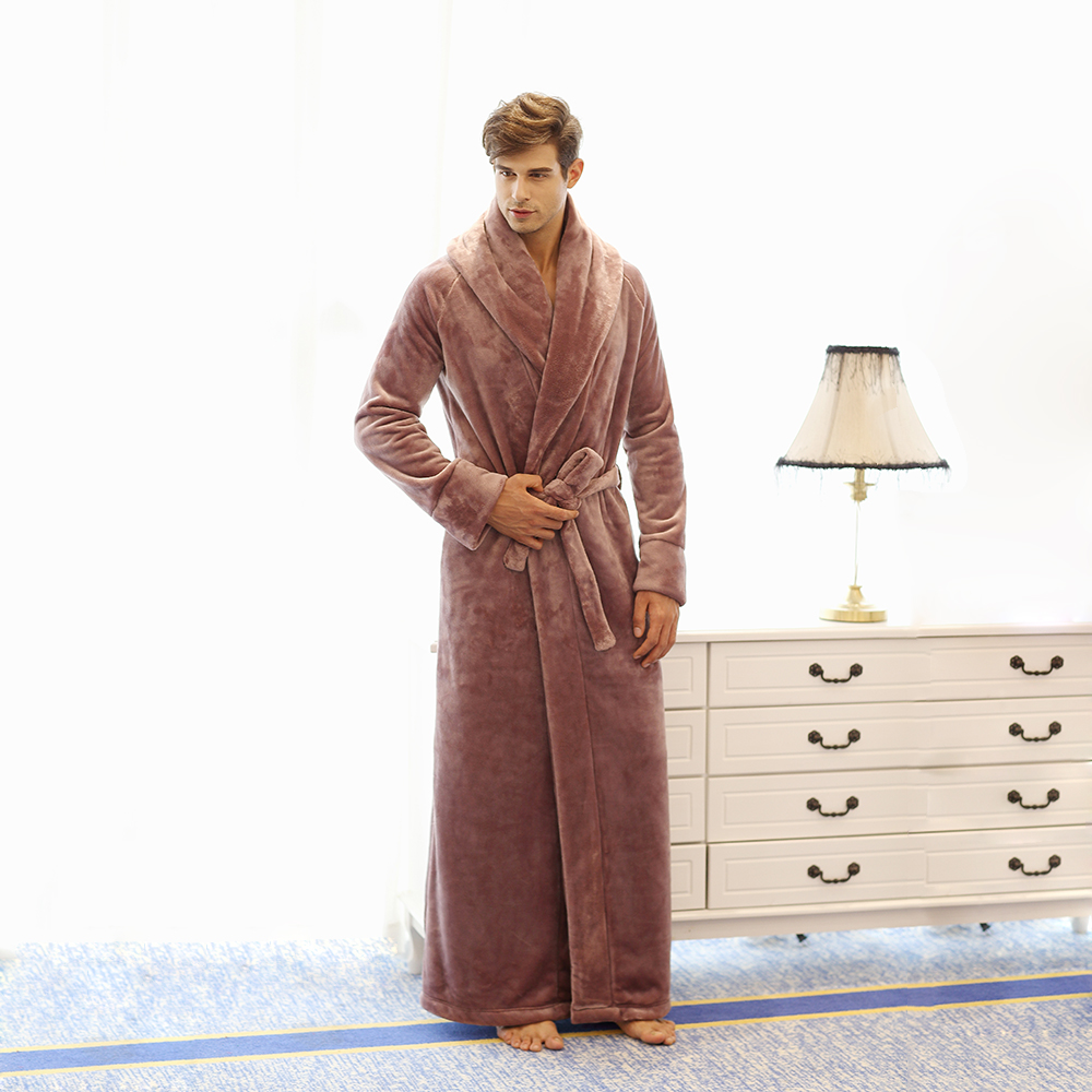 Men s Long Robe Microfiber Flannel Fleece Flannel Floor Length Plus Size Bathrobe Robes Sleepwear Loungewear