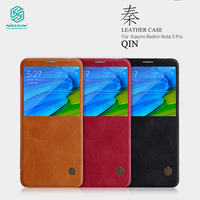 Nillkin Leather Case For Xiaomi Redmi Note 5 Pro Phone Bags Qin Series Genuine Luxury Cover