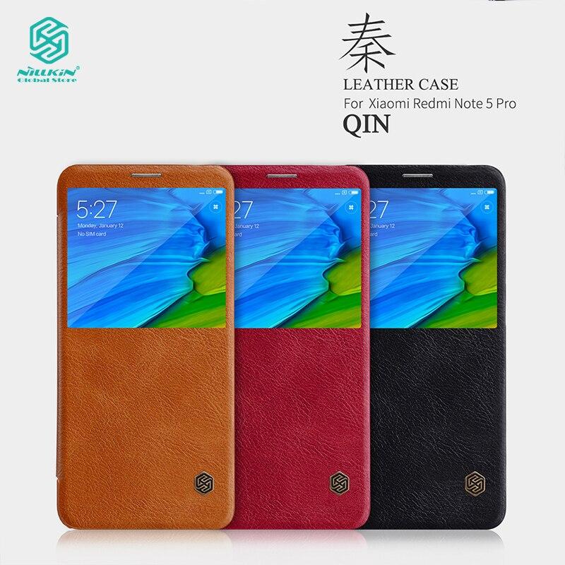 Funda de cuero Nillkin para Xiaomi Redmi Note 5 Pro fundas de teléfono Qin Series funda de lujo genuino para Xiaomi Redmi Note 5 Pro