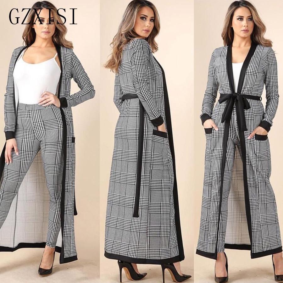 Autumn 2 piece set women clothes roupas feminina 3 piece cardigan jacket and full length trousers