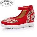 Vintage Embroidery Women Pumps Floral Embroidered Casual Canvas Platforms Cotton Fabric Leisure Travel Shoes for Woman