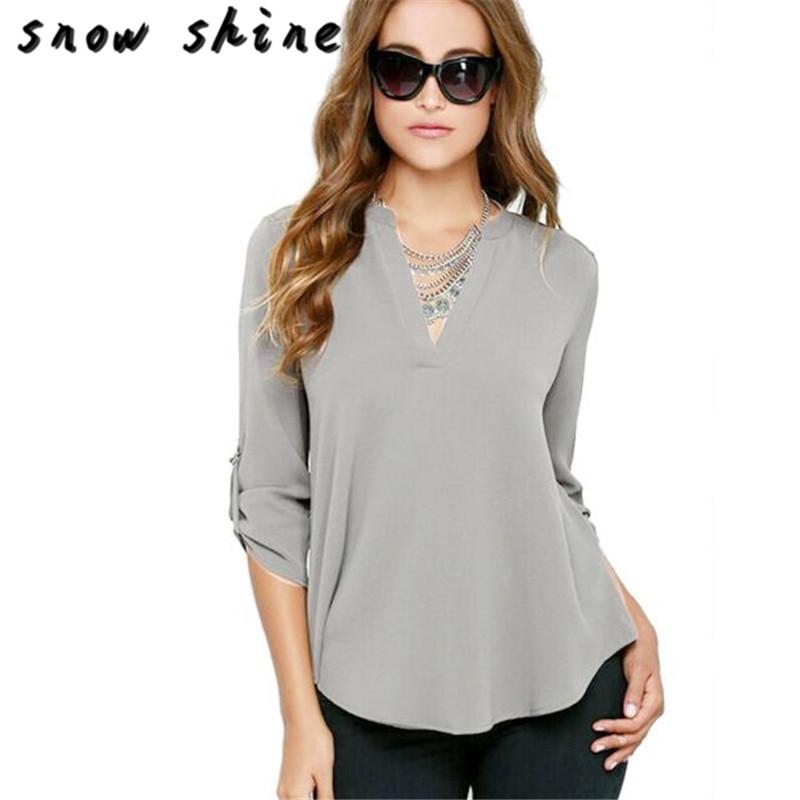 snowshine YLI Women Chiffon Blouse V Neck Long Sleeve Top Shirts free shipping