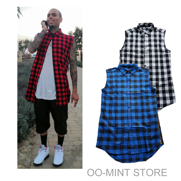 new casual Mens Summer Style Tyga Swag Hip Hip Hiphop Top Tees T Shirts Red Black Blue Plaid Side zipper Urban Clothing Clothes