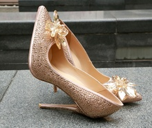 Fashion High Thin Heel Crystal Embellished Pumps Pointed Toe Slip On Rhinestone Bling Party Ladies Shoes