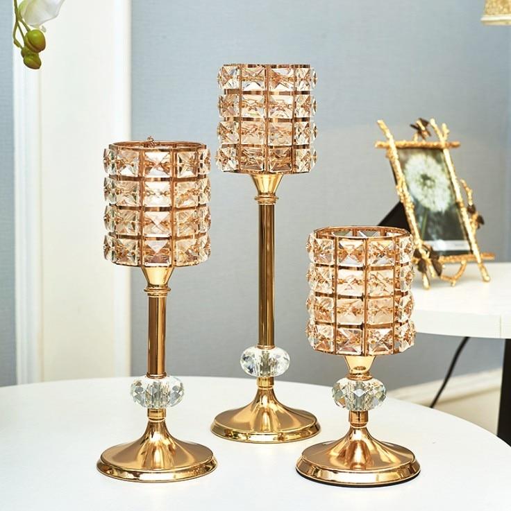 3 pièces De Mode cristal bougeoir stand centres de table pour mariage plume décor à la maison bricolage artisanat candlebra titulaire bougie rack