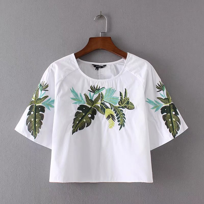 2017 Summer Leaves Embroidery Cotton T Shirts Women White