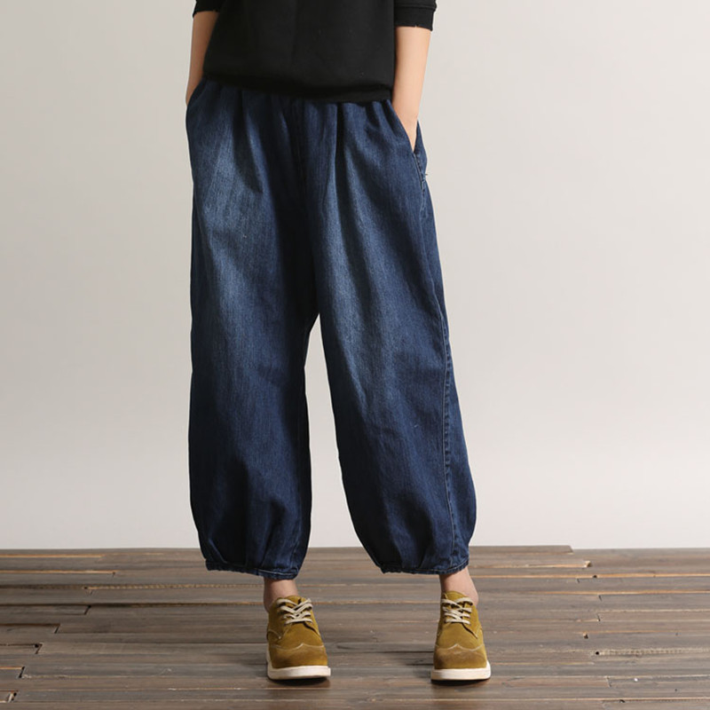 Free Shipping Spring And Summer New Fashion Long Elastic Waist Ankle Length Trousers For Women 3/4 Pants Jeans M-L Plus Size new fashion slim women leggings faux denim jeans long note printing spring summer leggings casual ankle length pencil pants