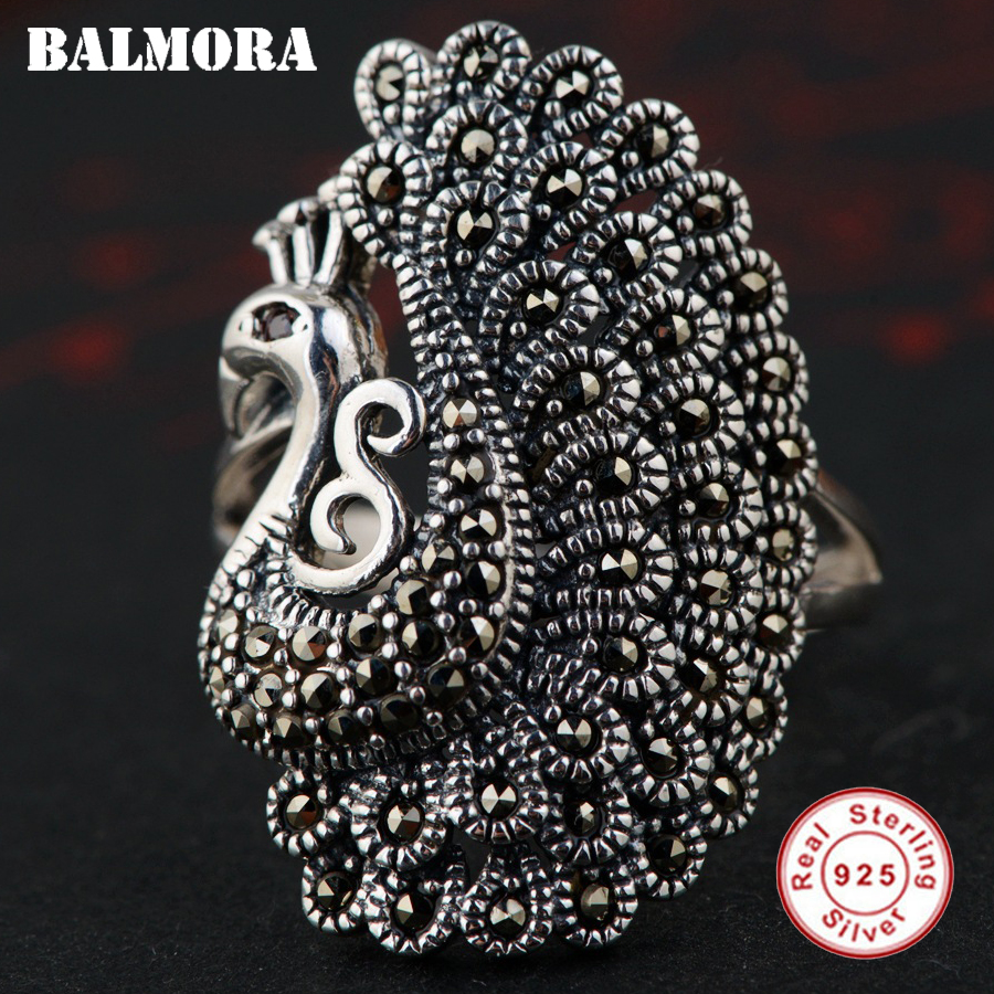 BALMORA 925 Sterling Silver Mosaic Peacock Resizable Rings For Women Animal Ring Vintage Thai Silver Fashion Jewelry MKS20304