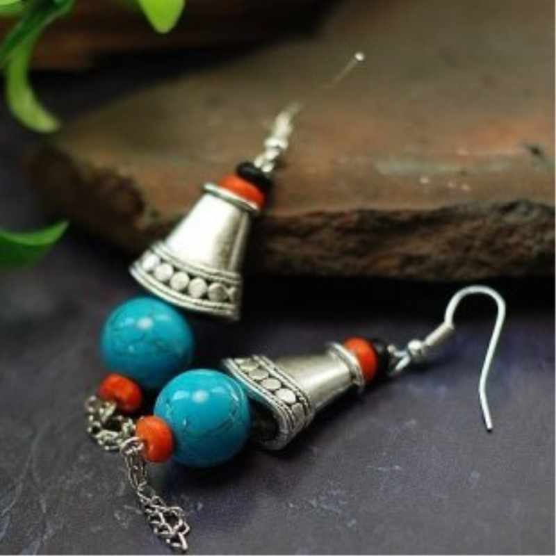 Quality Stone Beads Tibetan Silver Small Bell Tower Beautiful Original Retro Bohemian Style Earrings Ethnic Jewelry