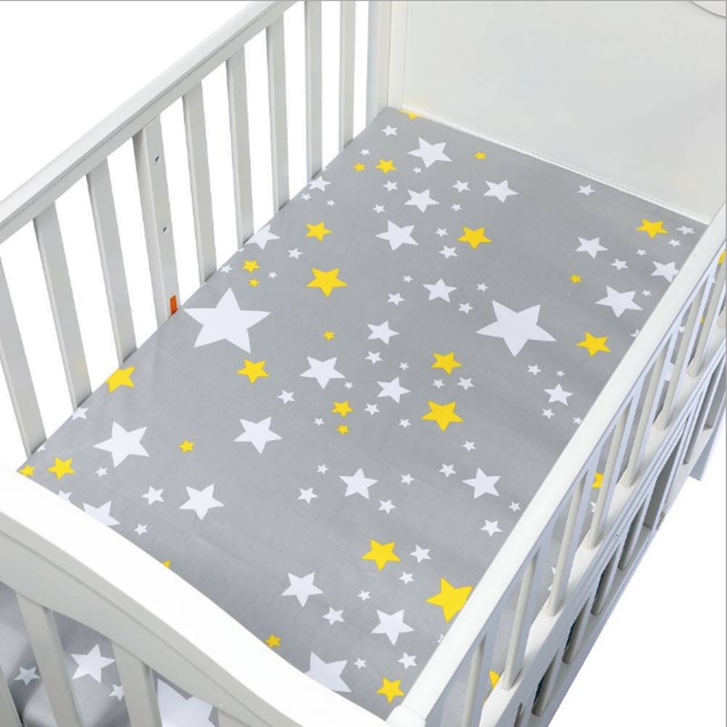 100% Cotton Crib Fitted Sheet Cartoon Soft Newborn Baby Bed Mattress Cover Children Grey Star Printing Bed Sheet Baby Bedding