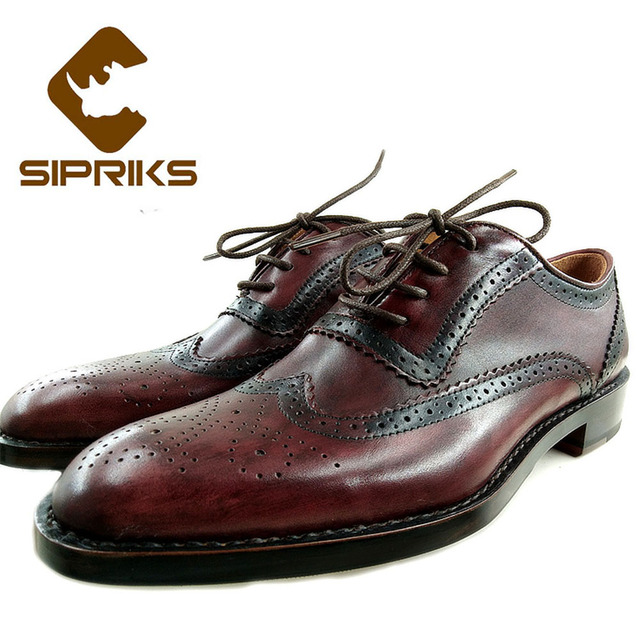 Sipriks Brand Mens Full Brogue Oxfords Wine Red Wingtip Dress Shoes