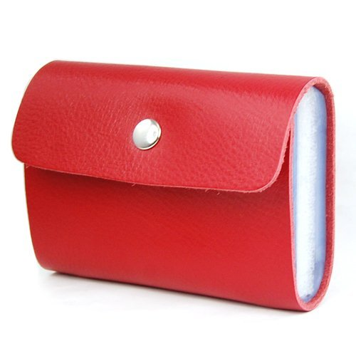 Red Premium Leather Wallets Credit Card Holder ID Business Case Purse Unisex