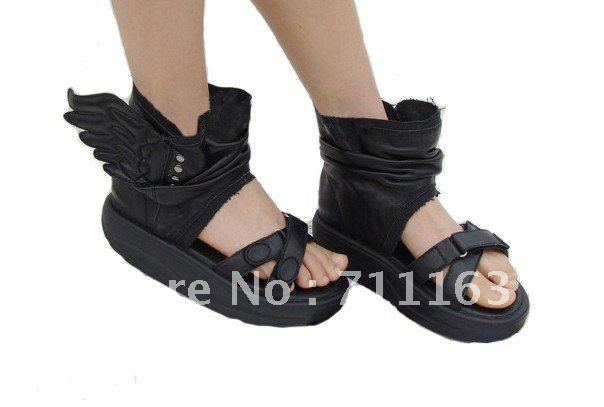 a691e66b834 New Arrives Womens Girls Cool Wings High Fashion Platform Soft PU leather  Comfortable Sandals Black   White Free Shpping New-in Women s Sandals from  Shoes ...