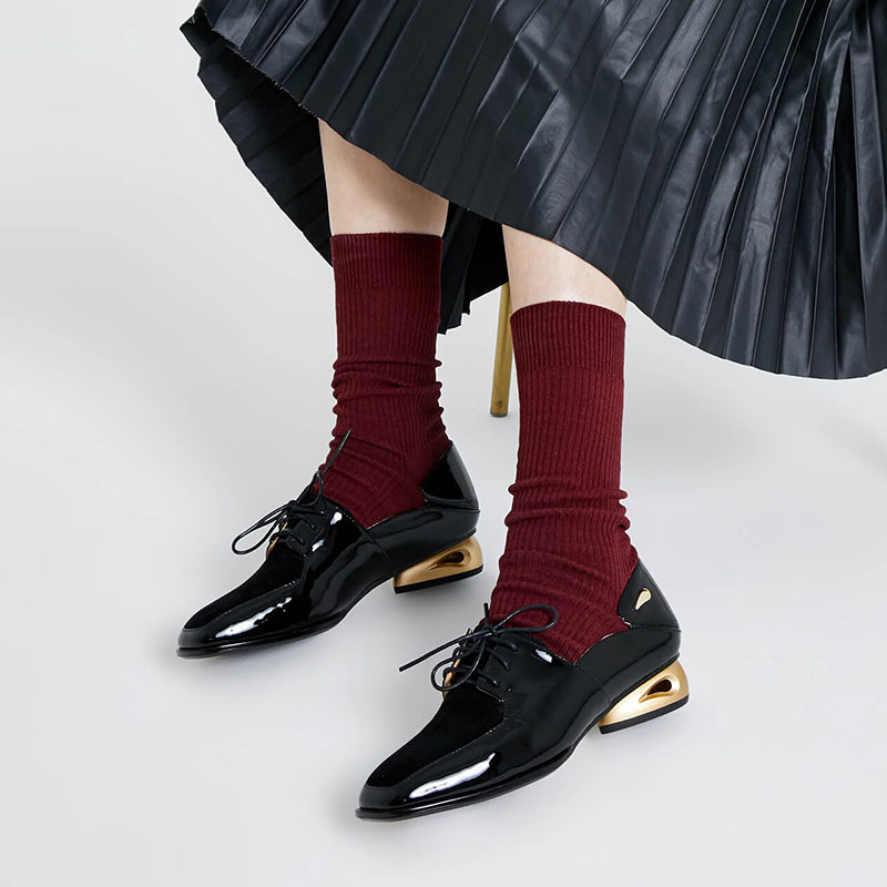 Vintage bout carré femmes appartements à lacets robe formelle mocassins noir en cuir verni dames Valentine bureau travail chaussures talons aiguilles
