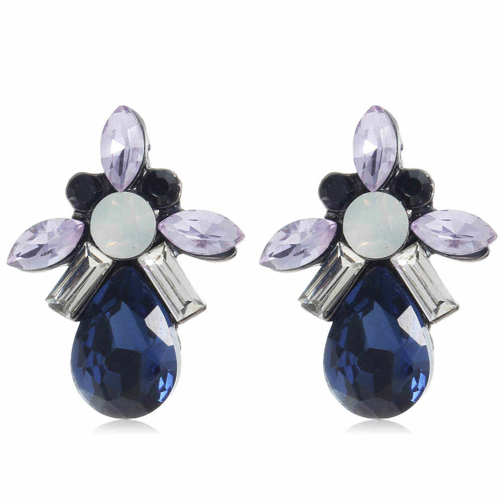 YaYi Blue Purple White Glass Black Rhinestone Dangle Earring Women's Fashion Gun  Black Gem Earrings For Women E1109