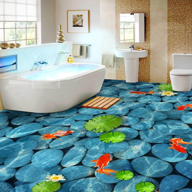 pvc self adhesive waterproof 3d floor tiles wall paper sticker lotus pond pebble murals bathroom flooring