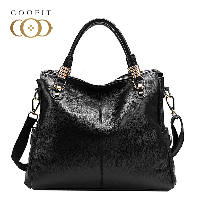Coofit Elegant Classic Female Handbag Genuine Leather All-matched Tote Bags For Women Lady Fashion Shoulder Crossbody Bag bolsas spring new elegant leather women handbag smooth skin lady shoulder bags female small casual totes cover zipper crossbody packs