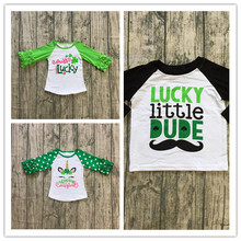 Unicorn Shamrock St.Patrick Day Ruffle Raglan Sleeve Top Tee Shirt