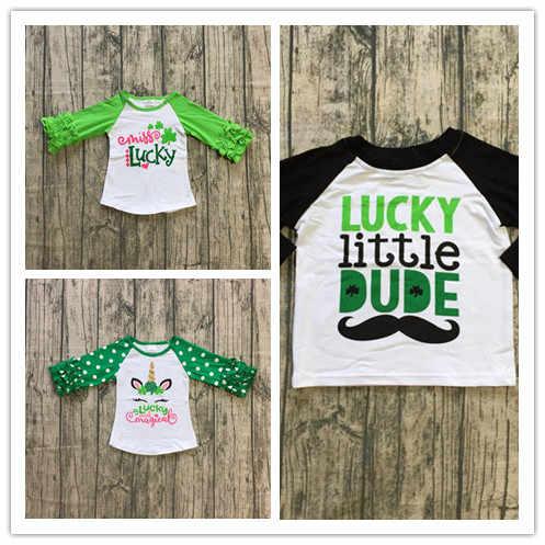 Detail Feedback Questions about 3 designs in stock baby girls raglan tops  St Patrick day raglan boys lucky little DUDE raglans girls lucky unicorn  Shamrock ... c42d6b680c49